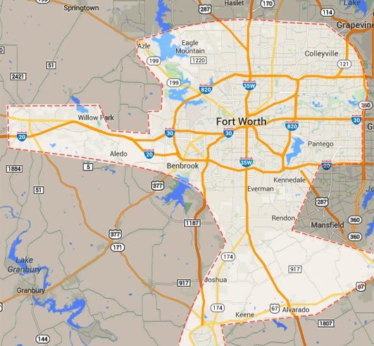 Concrete Repain And Leveling Fort Worth Service Area Map